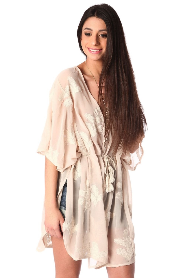 Beige tie front tunic with palm embroidery