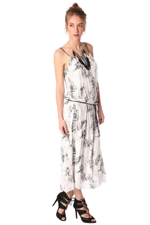 White printed maxi dress with belt