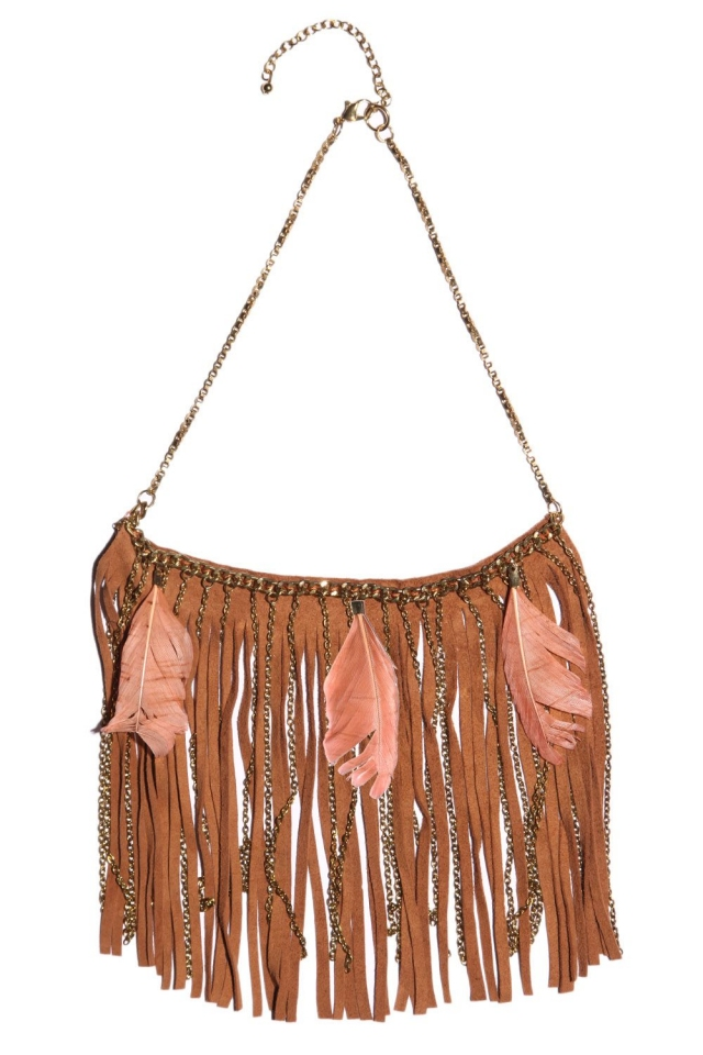 Fringe and feather pendant necklace