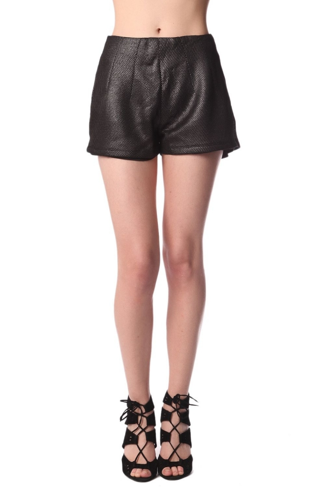 Black shorts in metallic texture
