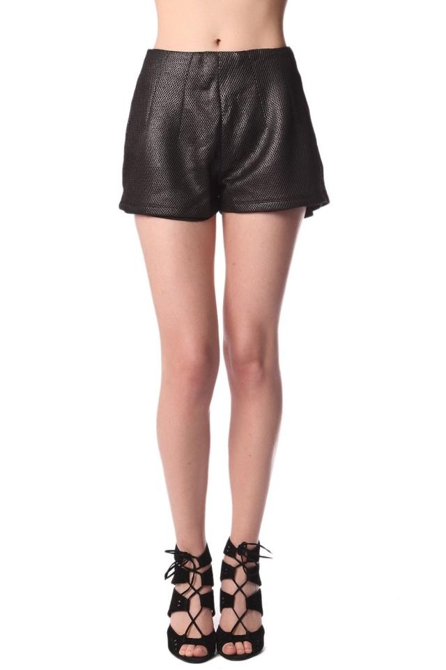 schwarz Shorts mit Metallic-Struktur