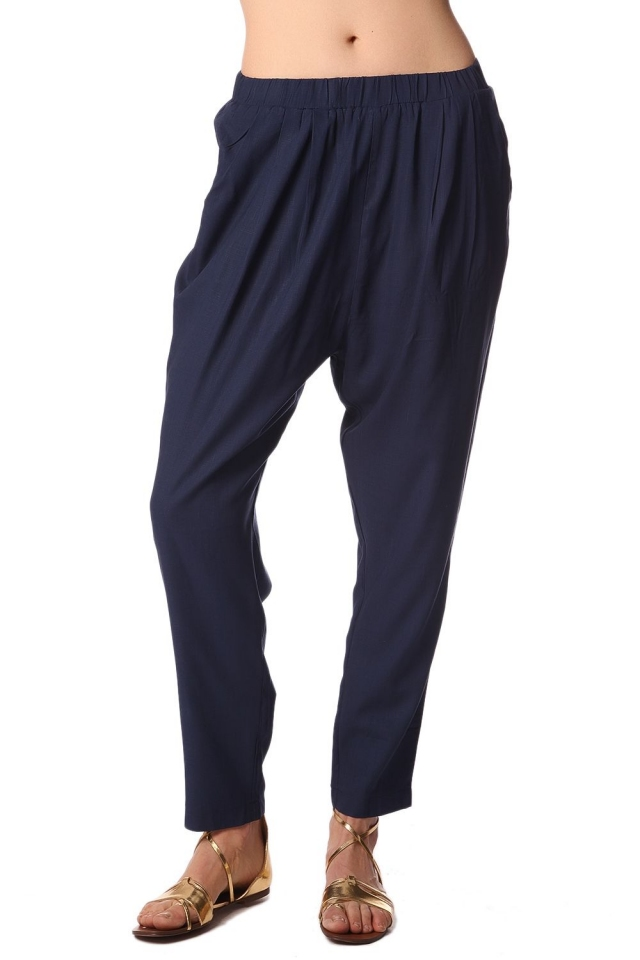 Navy blue peg pants with elastic waist