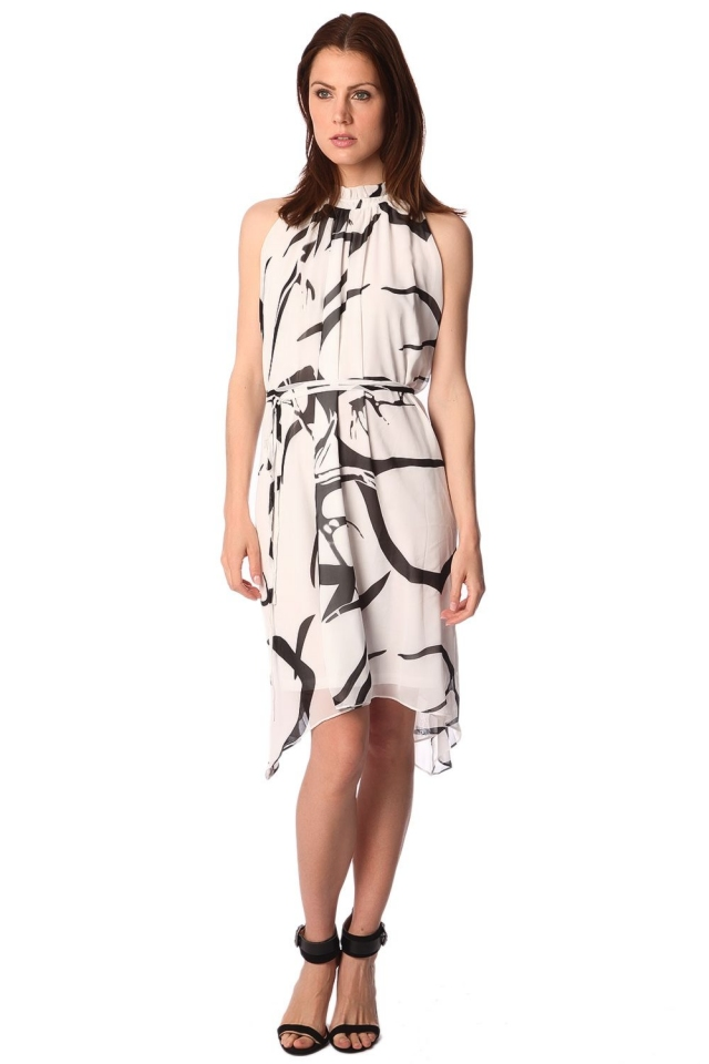 Ruffle edge high neck white dress with abstract print