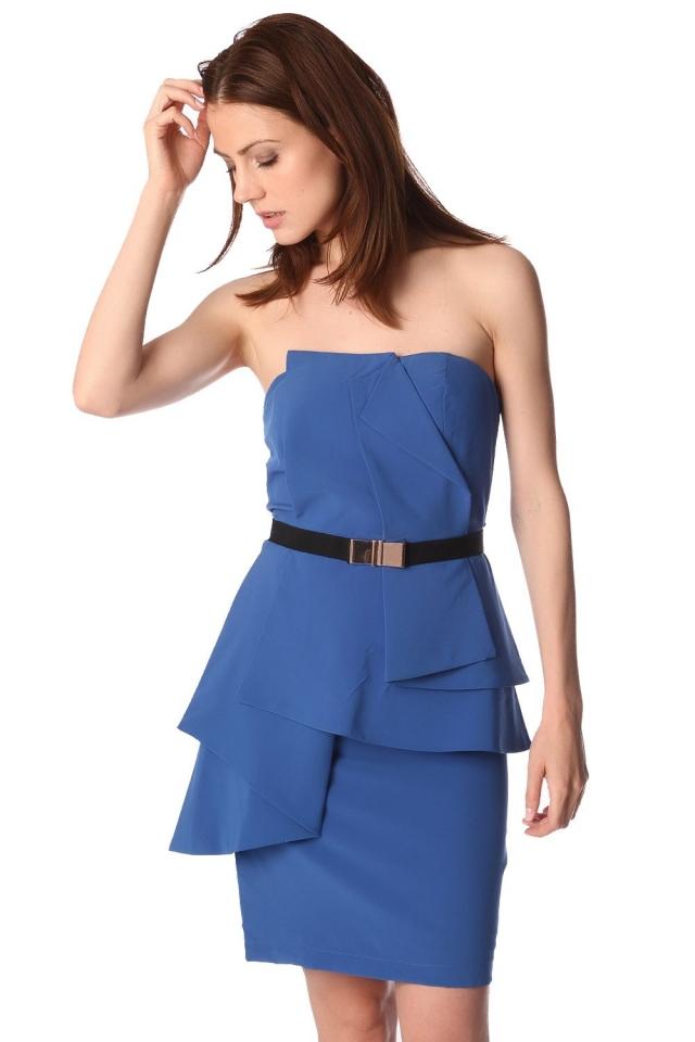 Electric blue bandeau mini dress with peplum detail and belt