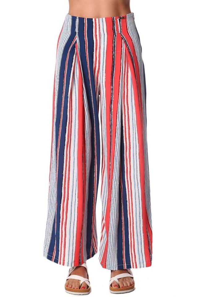 Red wide leg pants in stripe
