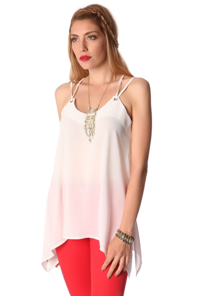 White long line cami top with ring detail