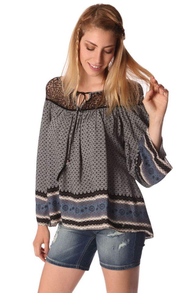 Gray paisley print blouse with cage detail