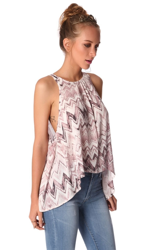 Pink top with dip back in zig zag print