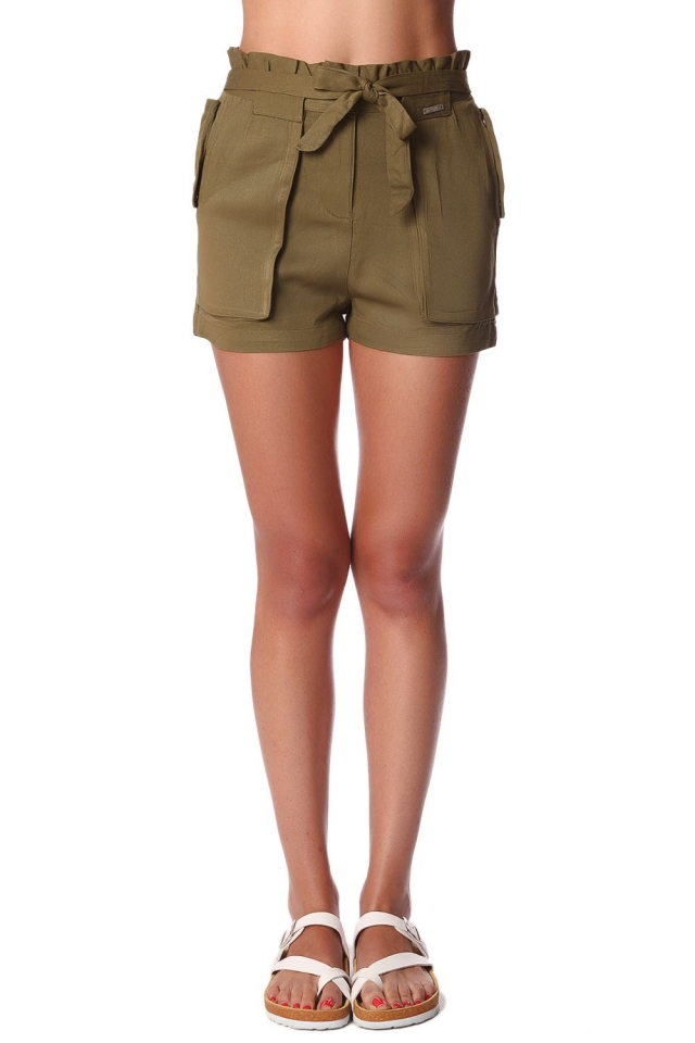 Khaki twill shorts with stretch waist and tie front detail
