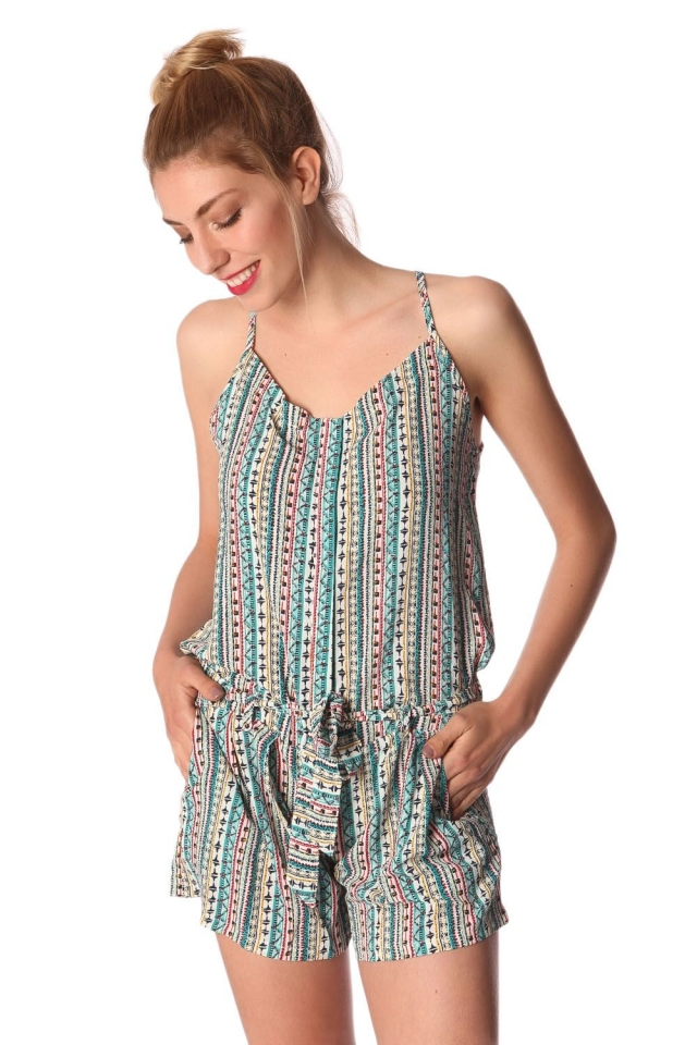 Green button up playsuit in tile print and belt