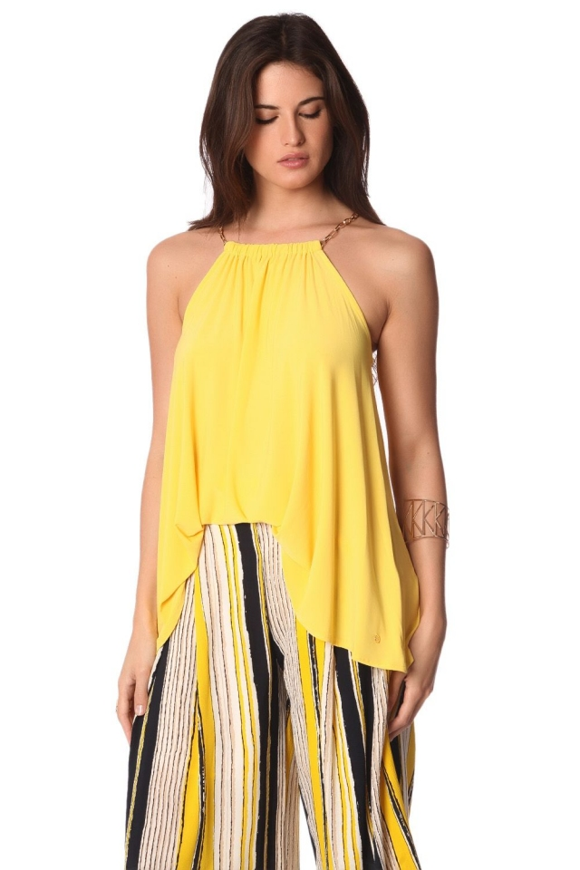 Yellow halter top with gold-tone chain straps