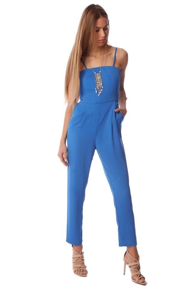 Blue spaghetti jumpsuit with square neckline