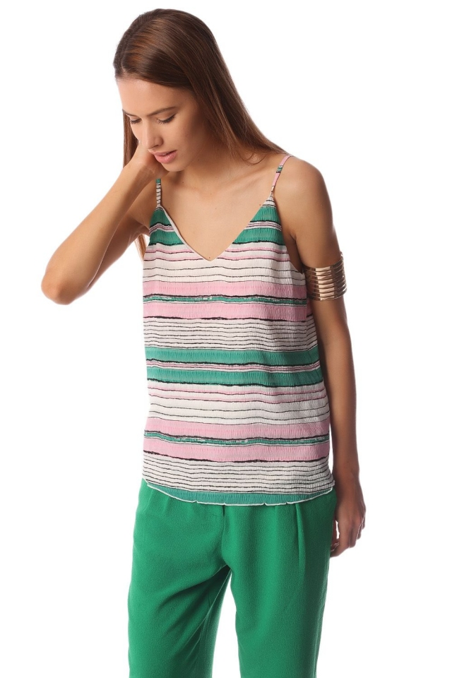 Cami top with horizontal stripe