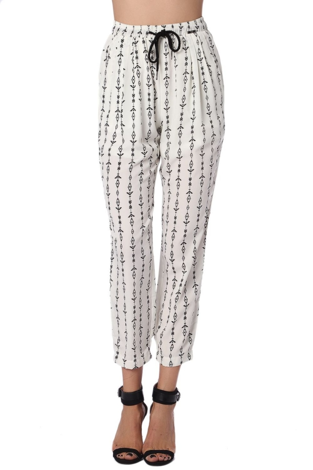 Cream pant with contrast geo-tribal print