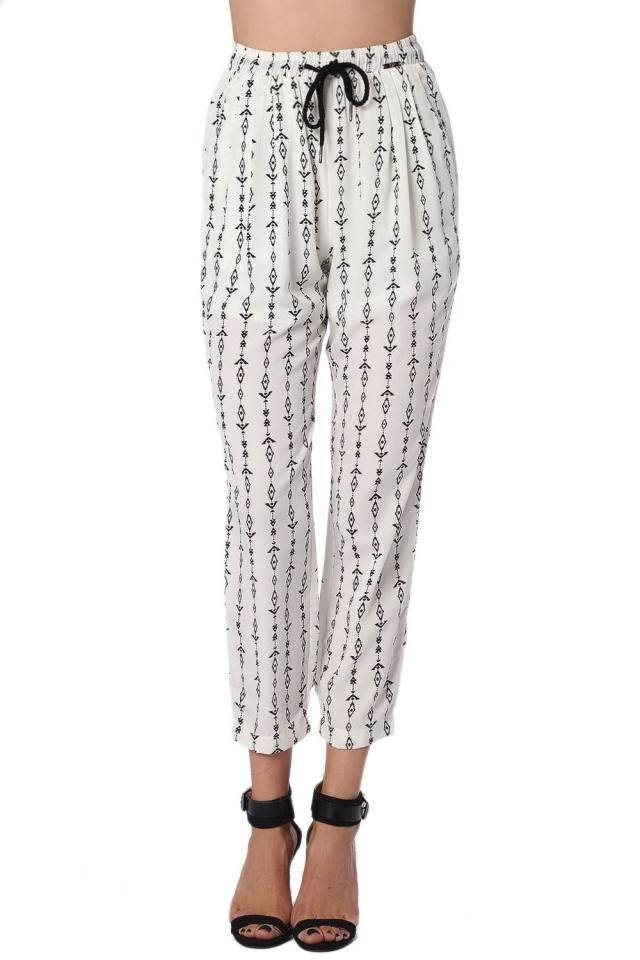 Cream pant with contrast geo-tribal print