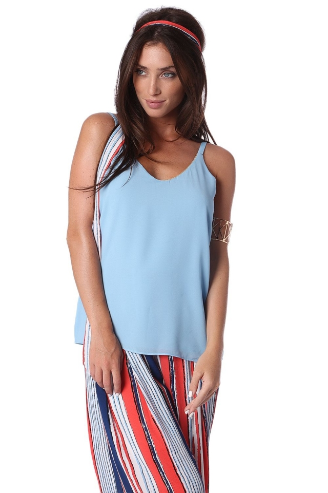 Blue cami top with gold trim detail
