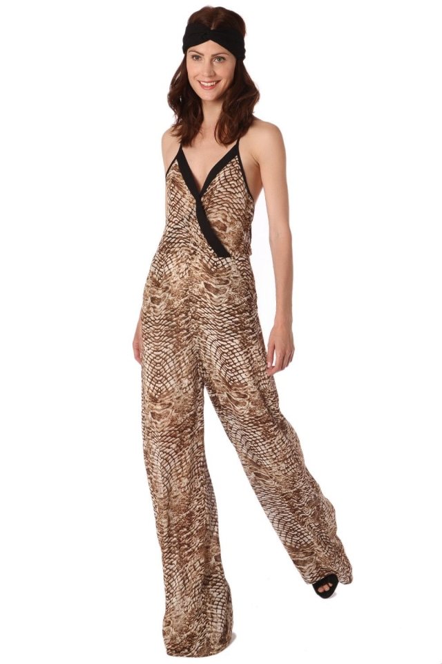 Brown animal print jumpsuit with black trim