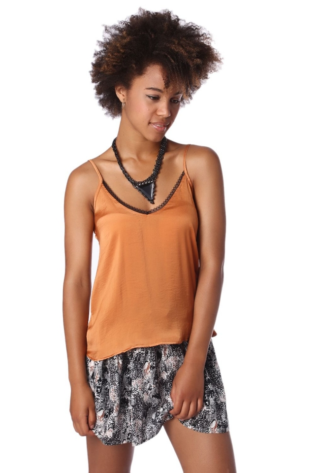 Rust cami top with black lace trim