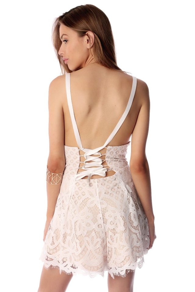 Lace Romper With Lace Up Back Detail