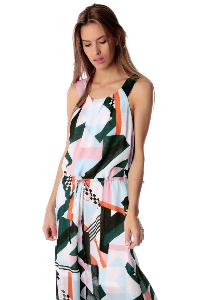 White maxi dress in abstract print with drawstring waistband