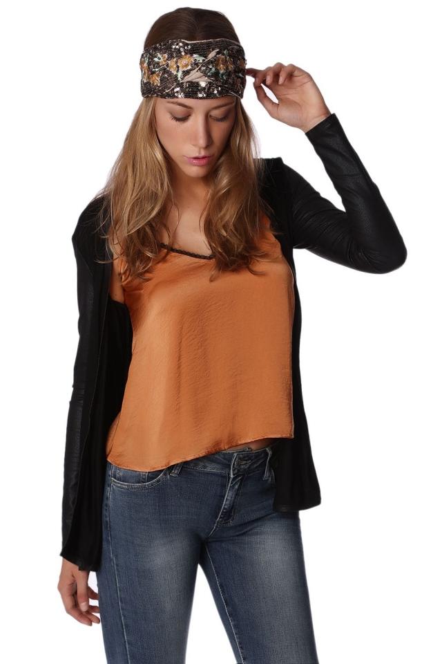 Black cardigan with sleeves in faux snakeskin