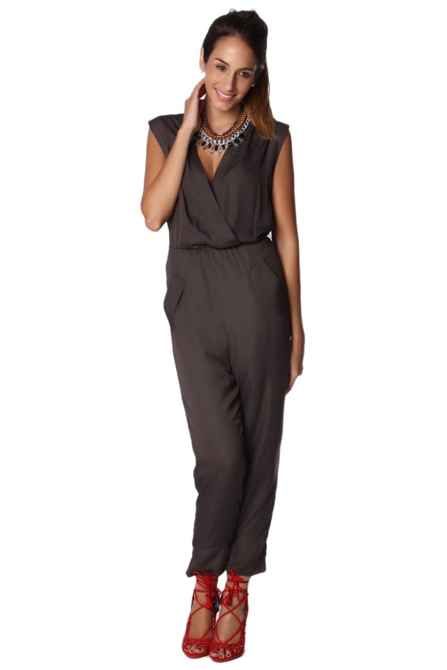 Green Wrap Jumpsuit with Pocket Detail