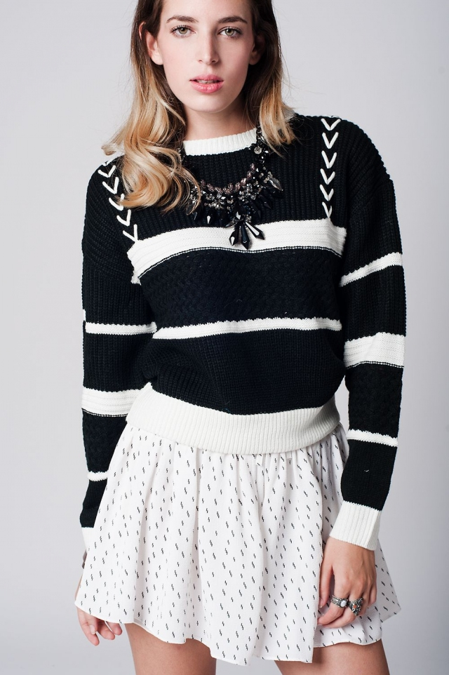Gray Striped Cable Knit Sweater