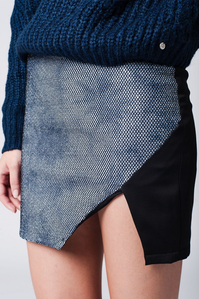 Minirock mit Wickeleffekt vorne blau