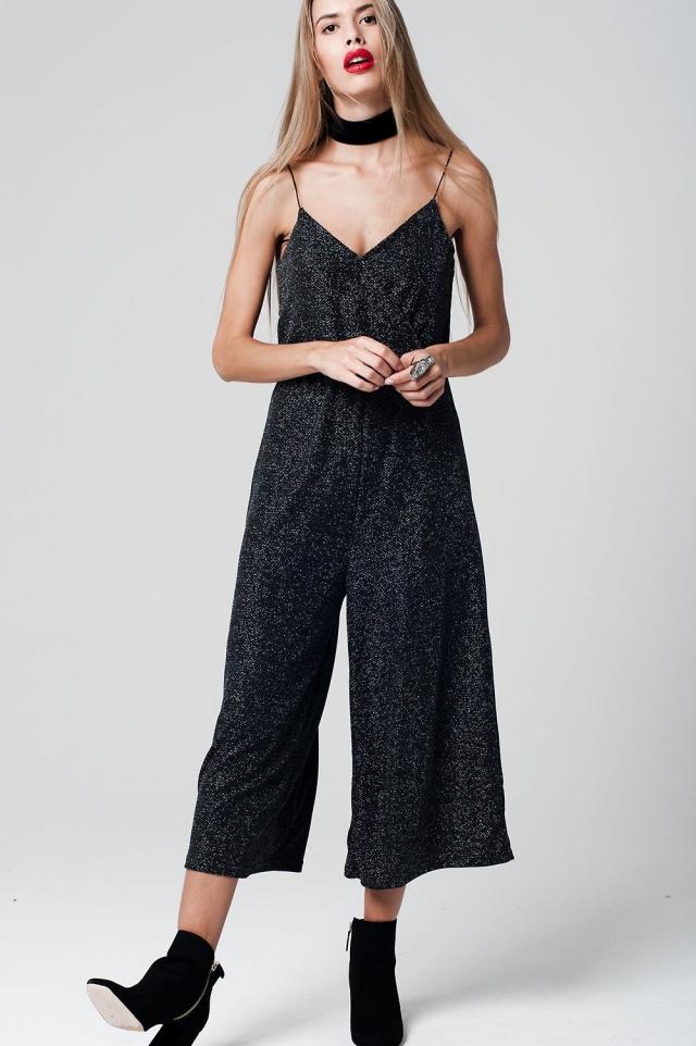 Black Jumpsuit metallic tissue with Culotte Leg