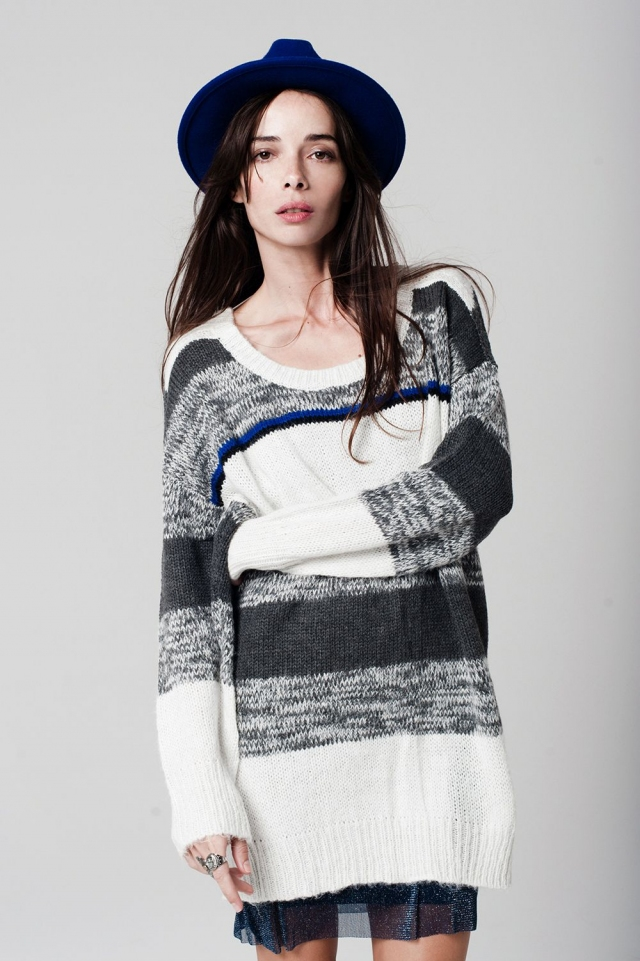 Grey Stripe Chunky Knit Sweater