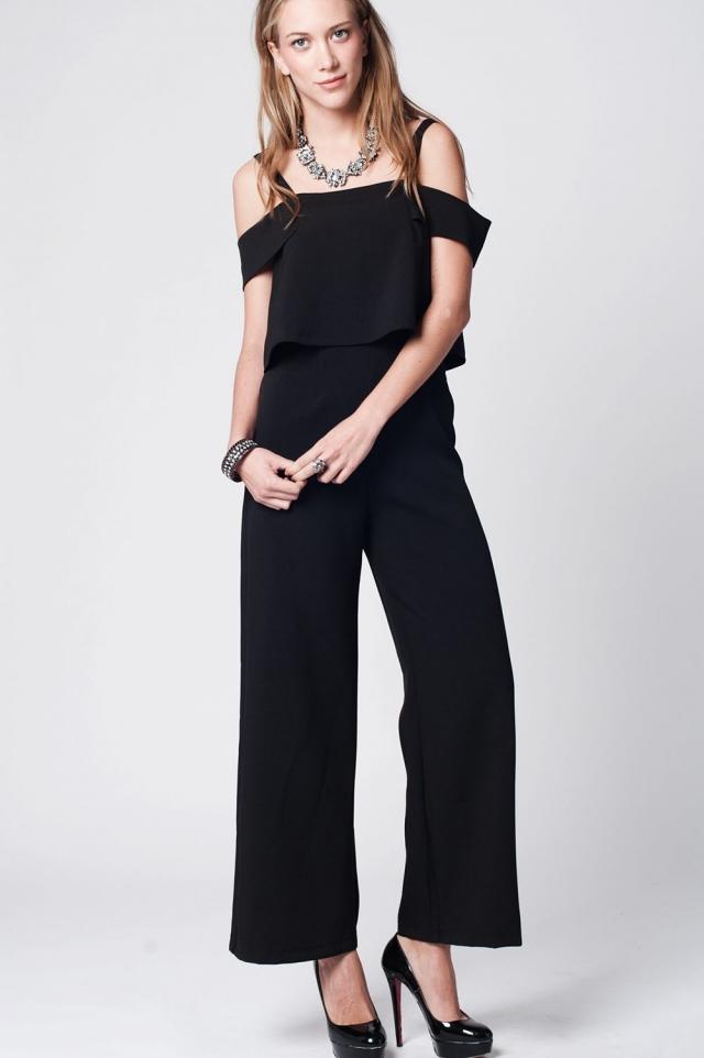 Black tall off shoulder jumpsuit