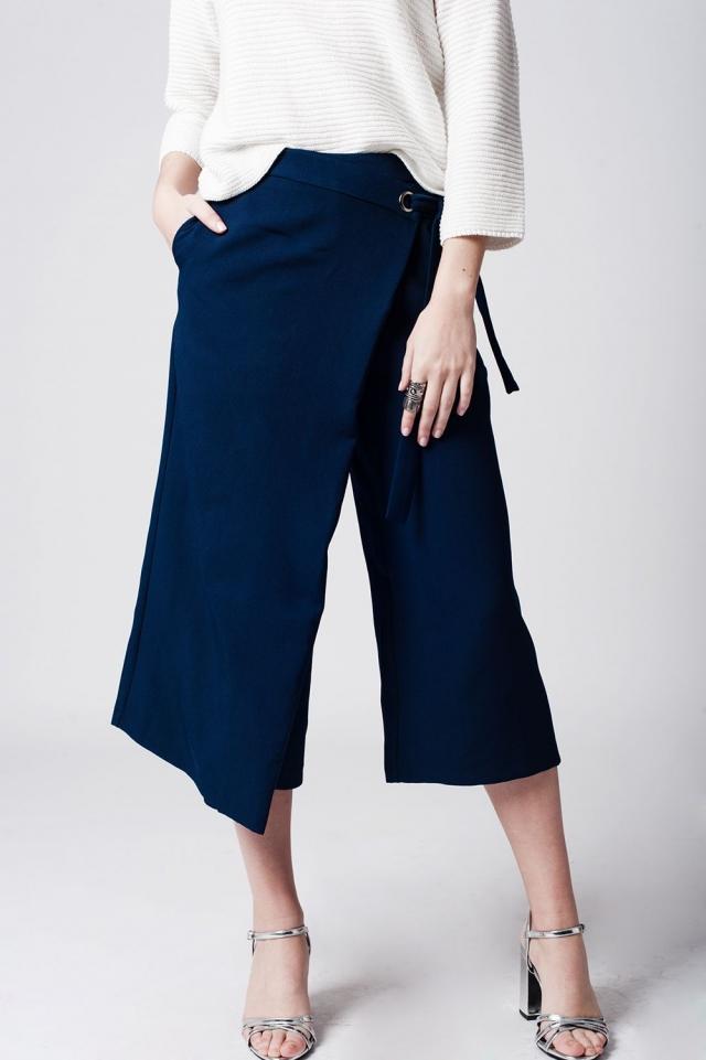 Navy blue culotte with tie waist