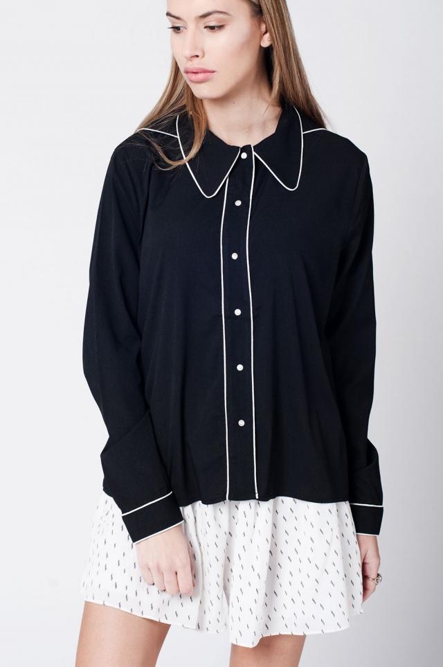 Black shirt with contrast binding