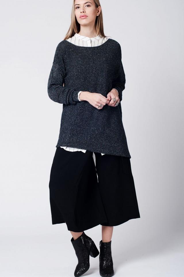 Black oversize sweater off shoulder lame knit