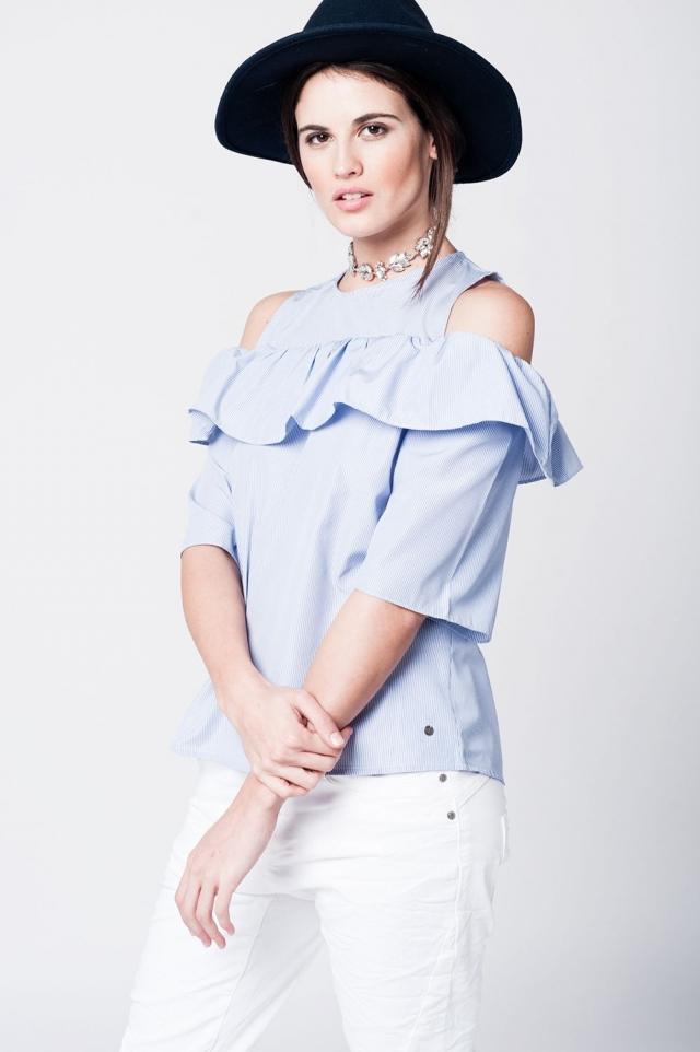 Ruffled dark blue stripes off-shoulder top