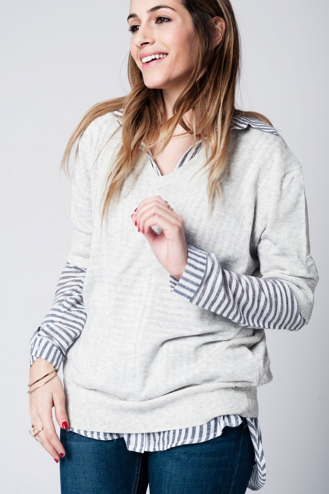 Gray lightweight knit sweater with 3/4 sleeves