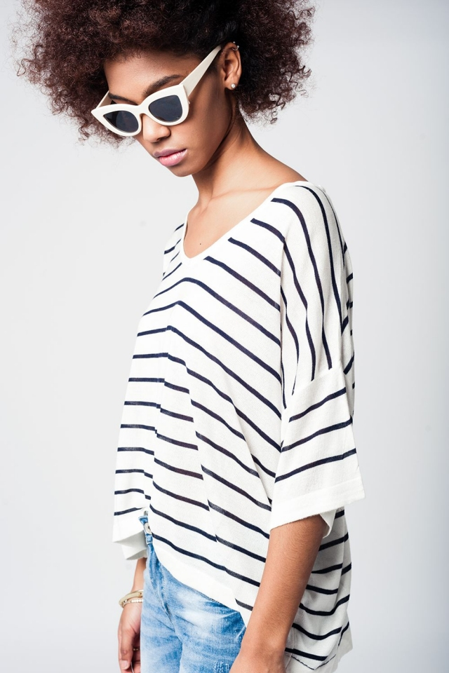 Navy blue striped short sleeved asymmetric sweater