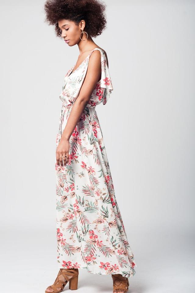 Cream maxi beach dress with floral print