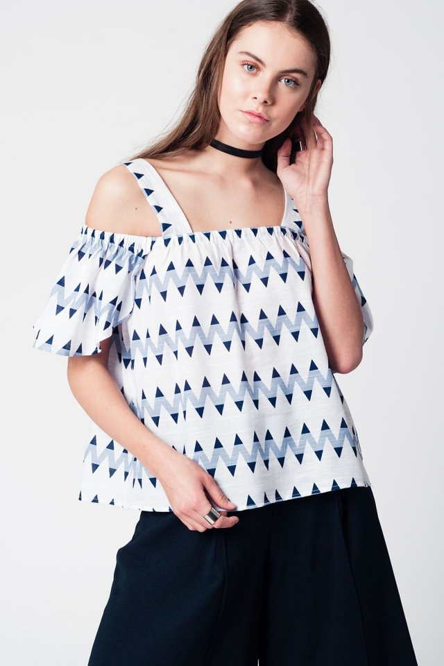 Top with blue zig zag print and cold shoulders