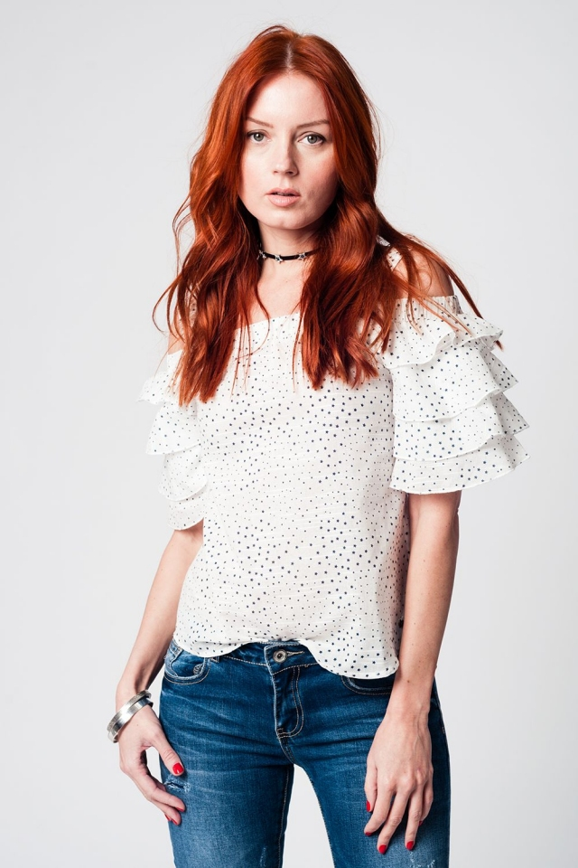 White star print top with frill sleeve