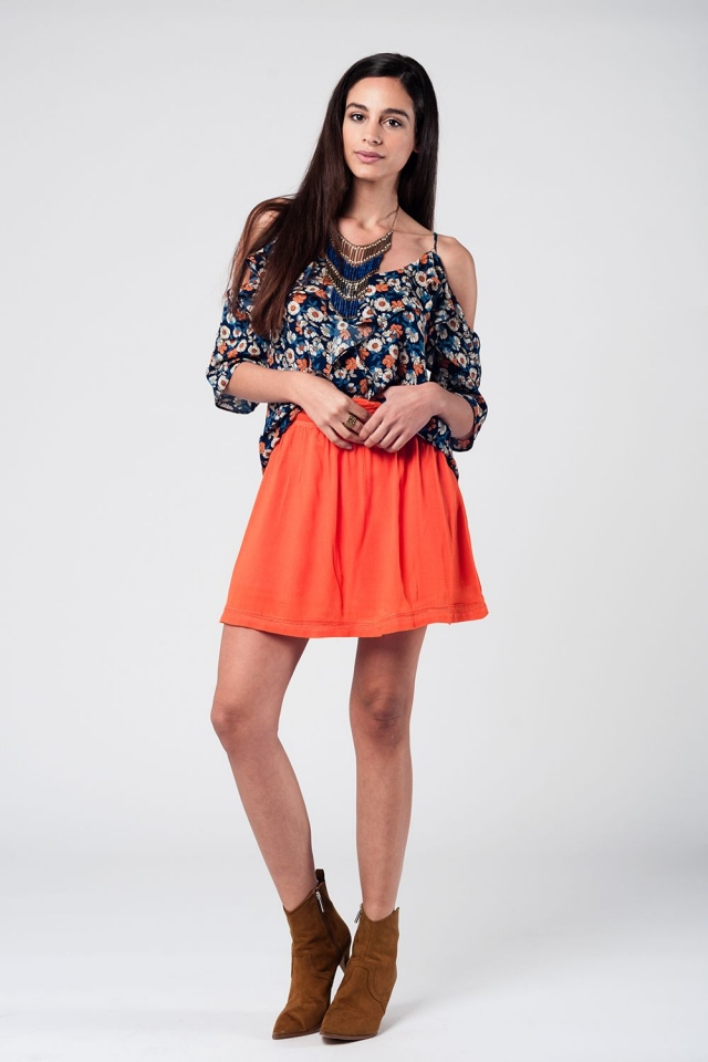 Navy floral print top with cold shoulder