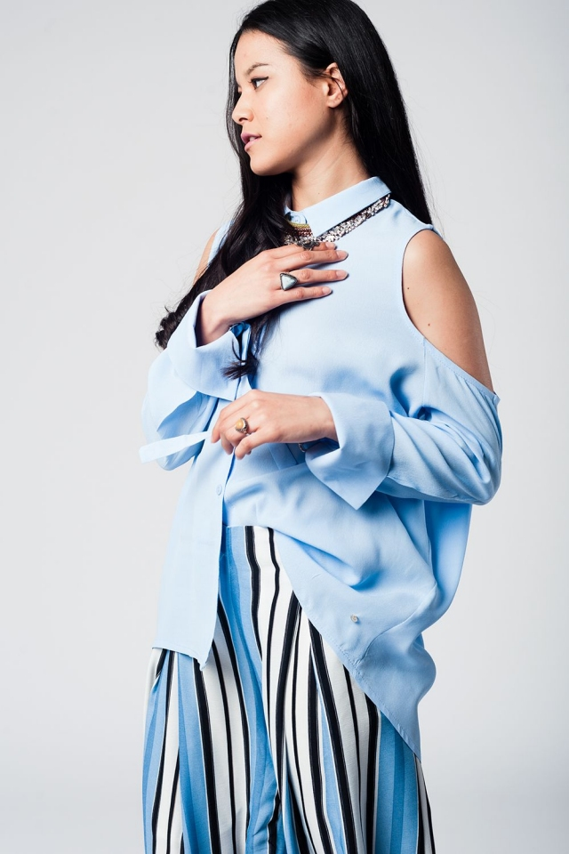 Blue cold shoulder long shirt with cuff ring detail