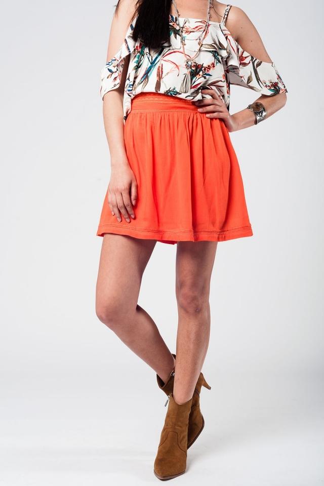 Aztec orange mini skirt
