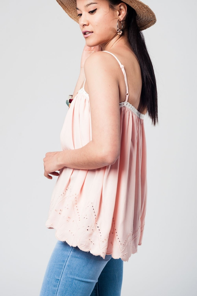 Pink top with white crochet detailing