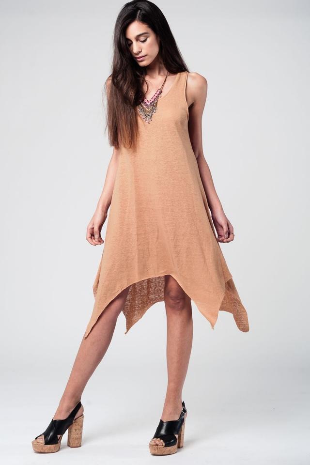 Camel Sun Dress With Dipped Hem