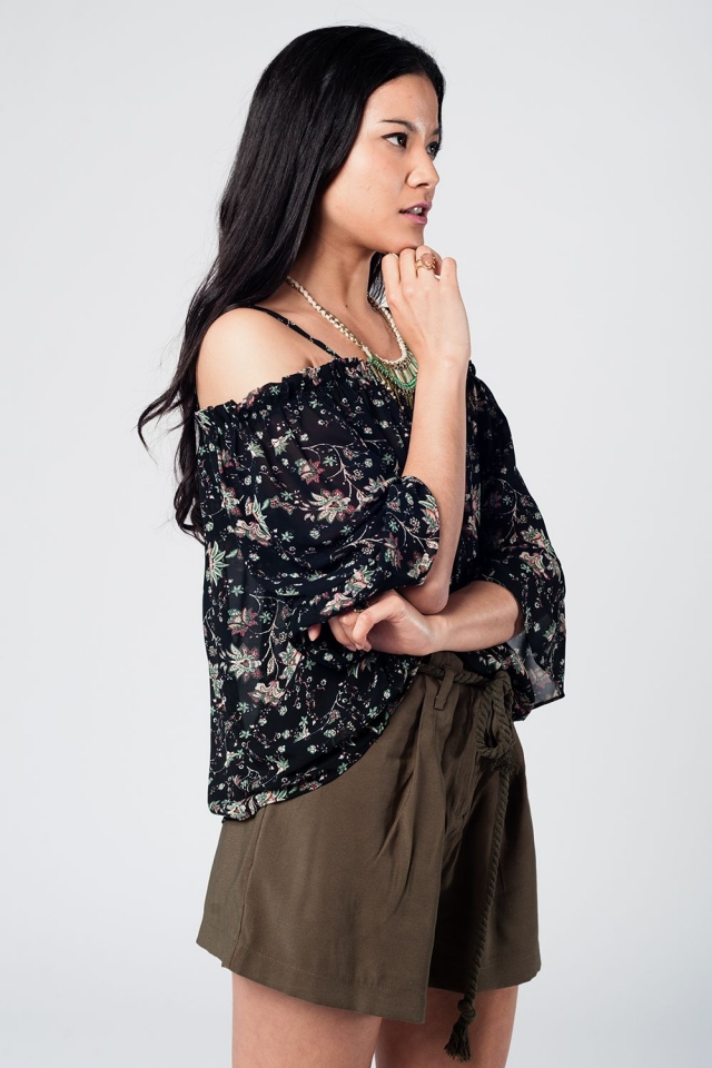 Black cold shoulder ruffled top with floral print