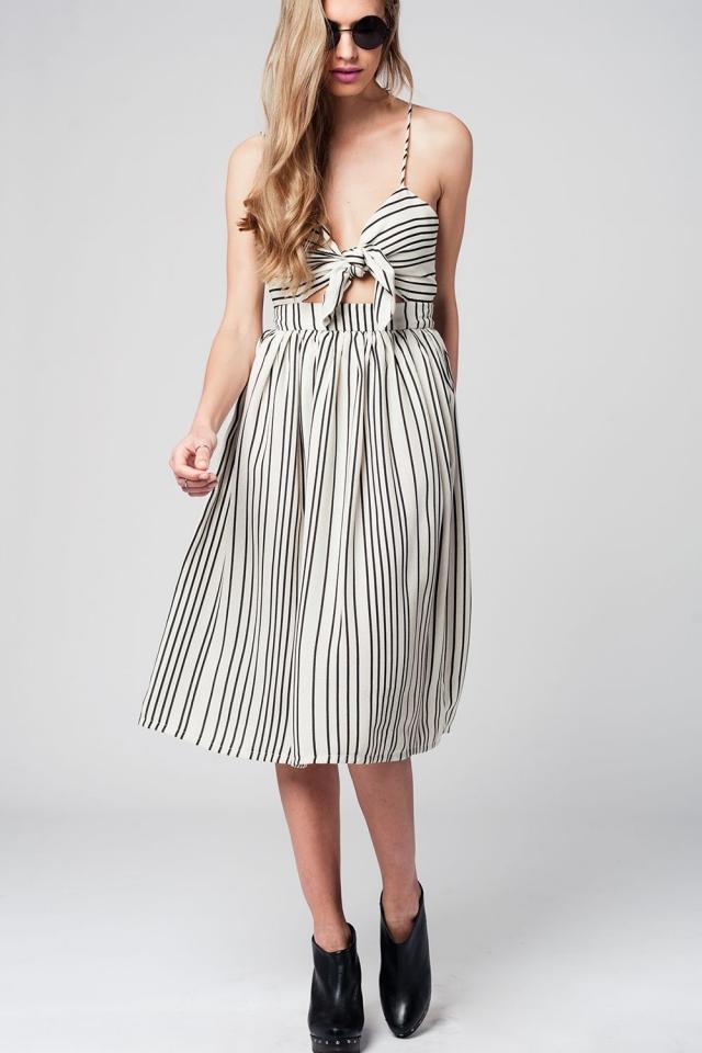Stripe bow midi dress in beige