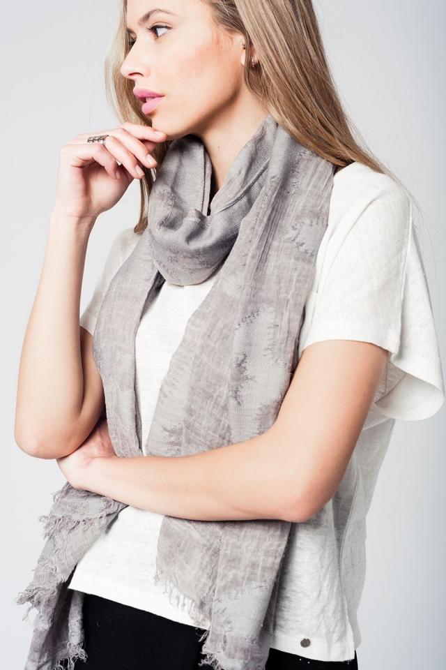 Graues leichtes Schal mit Stern Print und Fransen