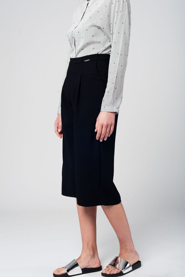 Tailored black culotte with pockets