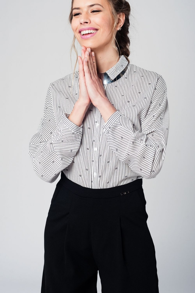 Black striped blouse with collar and butterflies